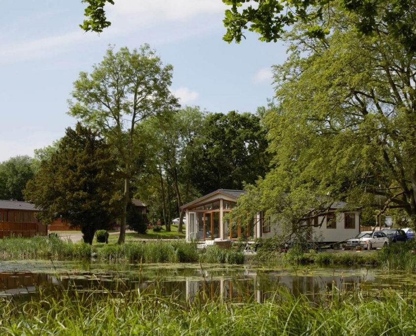 Haveringland hall park home development Cawston Norwich lake image