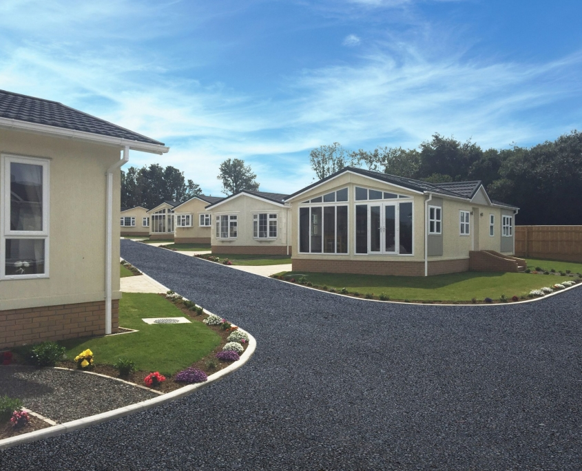 Meadowlands Court residential park home development Bude cornwall street view
