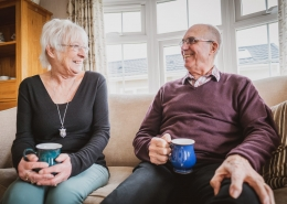 55 year old couple enjoying new lifestyle after best age to downsize to a park home