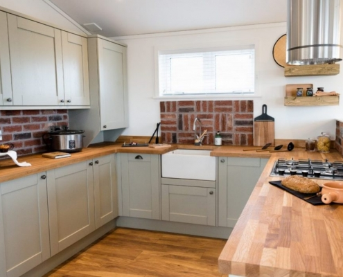 kitchen of lodge for sale in cornwall